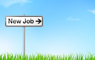 illustration of new job direction sign on nature background